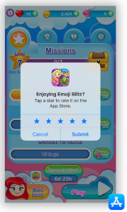 Increase mobile app ratings, How to increase mobile app ratings, Emoji blitz app rating