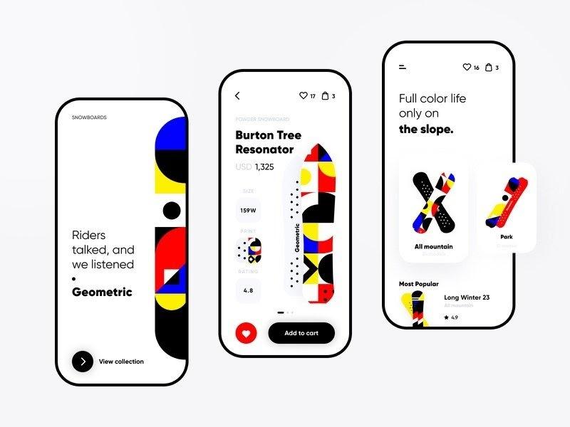 top app design trends in 2021, geometric art in mobile app design