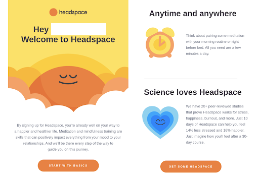 Headspace_WelcomeEmail1, how to increase app engagement and user retention